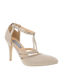 Utopia T Bar Strap Pointy Court Shoe Nude