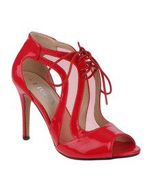 Utopia Mesh Patent Heel Sandal Red