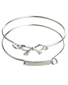 Utopia 2 Piece Bow Bracelet Set Silver