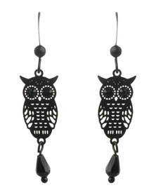Utopia Owl Pendant Drop Earrings Black