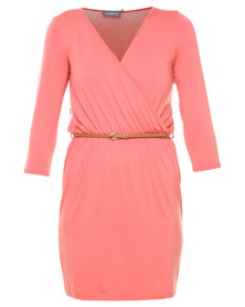 Utopia Wrap Dress With Tan Belt Coral