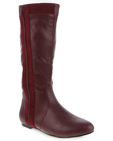Utopia Knee High Boots with Side Zip Burgundy