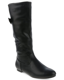 Utopia Knee High Boots with Buckle Detail Black