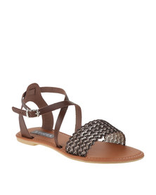 Utopia Cross Over Ankle Strap Sandals Brown
