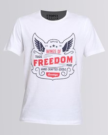 Utopia Tee With Wings Of Freedom Print White