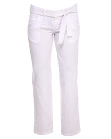 Utopia Long Linen Pants with Drawcord White