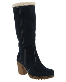 Utopia Cleated Microfibre Heeled Boot Navy
