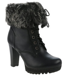 Utopia Fur Lined Lace Up Heeled Boot Black