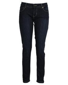 Utopia Curvy Fit Basic Skinny Leg Jeans Dark Blue