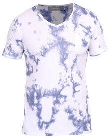 Utopia Print V-Neck Tee with Pocket Blue