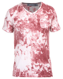 Utopia Print V-Neck Tee with Pocket Burgundy