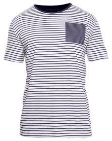 Utopia Stripe Tee with Pocket Blue