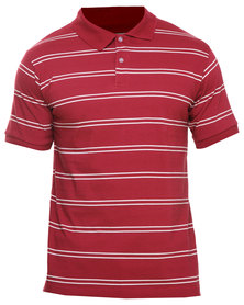 Utopia Stripe Polo Tee Burgundy