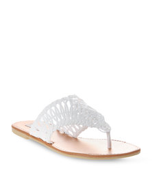 Utopia Weave Cut Out Sandals White