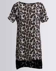 Utopia Animal Print Viscose Tunic Grey