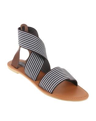 Utopia Striped Elastic Sandal Brown