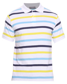 Utopia Stripe Polo Yellow/White