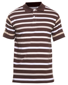 Utopia Stripe Polo Brown/Beige