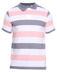 Utopia Stripe Polo Grey/Pink