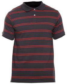 Utopia Stripe Polo Red/Black