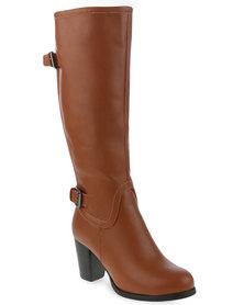 Utopia Buckle Knee High Heel Boot Tan