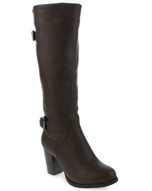 Utopia Buckle Knee High Heel Boot Dark Brown