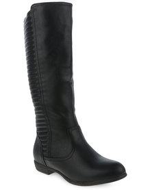 Utopia Quilted Stitch Knee High Boot Black
