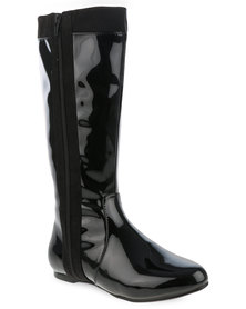 Utopia Patent Knee High Boot with Side Zip Black