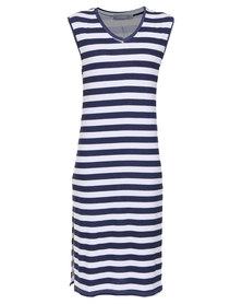 Utopia Stripe Vest Dress Navy/White
