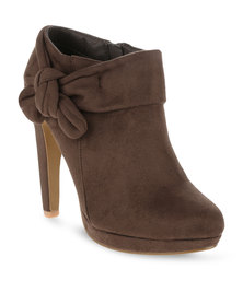 Utopia Bow Ankle Heel Boots Brown