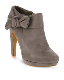 Utopia Bow Ankle Heel Boots Grey