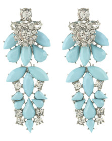 Utopia Crystal Statement  Drop Earrings Blue