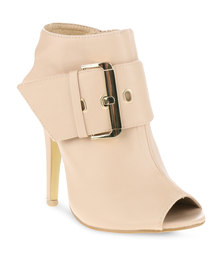 Utopia Buckle Slingback Heel Cream
