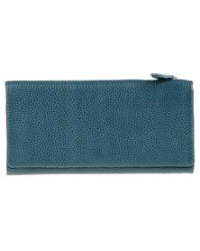 Utopia Zip Around Leather Wallet Teal