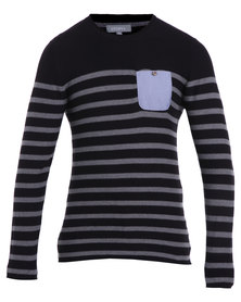 Utopia Stripe Pocket Jumper Black and Grey