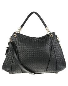 Utopia Weave Bag with Gold-Tone Trim Black