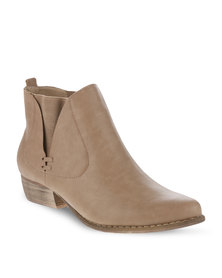 Utopia Cowboy Ankle Boots Beige