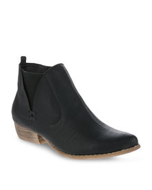 Utopia Cowboy Ankle Boots Black
