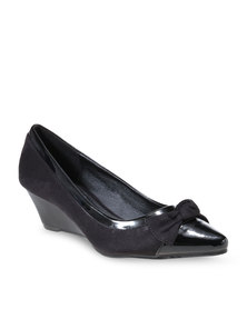 Utopia Bow Wedge Heels Black