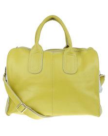Utopia Front Zip Leather Bag Yellow