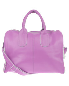 Utopia Front Zip Leather Bag Lilac