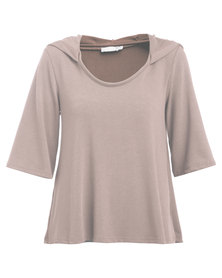 Utopia Oversized Hoodie Top Taupe