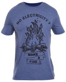 Utopia Blue No Electricity Print Tee Blue Marl