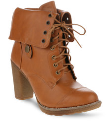 Utopia Fold Over Boots Tan