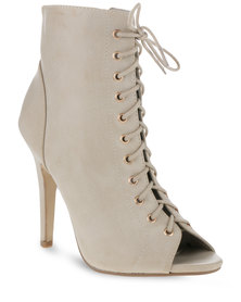 Utopia Lace-up Sexy Heel Boots Beige