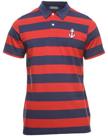 Utopia Stripe Polo Tee Red