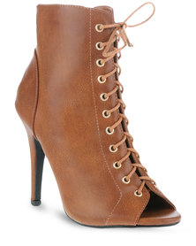 Utopia Lace-up Sexy Heel Boots Tan