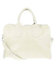 Utopia Front Zip Leather Bag Cream