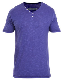 Utopia Pigment Dye Buttoned Tee Royal Blue