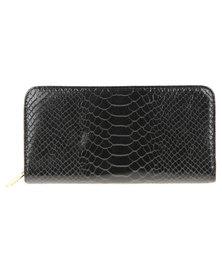 Utopia Mock Croc Wallet Black